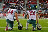 INNSBRUCK, AUSTRIA - JULY 8: RB Jose Reyes (#22 Mexico) and RB Juan Castillo (#44 Mexico) at the sid