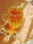 Cup Of Herbal Tea With Chamomile Flowers. Healthy Natural Chamomile Herbal.herbal Tea On A White Woo poster