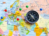 Top View Of Planning A Trip Or Adventure Travel Planning Dreams. Map Of The World.travel Concept .tr poster