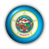 Round Button Usa State Flag Of Minnesota