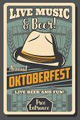 Oktoberfest German Beer Festival Vector Design With Craft Beer Mugs, Bavarian Felt Hat, Wooden Barre poster