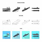 Vector Design Of War  And Ship Symbol. Collection Of War  And Fleet Vector Icon For Stock. poster