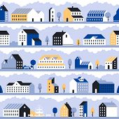 Minimal City Pattern. Minimalistic Town Landscape, Modern Homes Houses And Geometric Cityscape Vecto poster