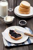 Jam Sandwich On Breakfast Table