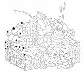 Vector Piece Of Cake With Abstract Ornaments. Hand Drawn Illustration For Coloring Book For Adult In poster