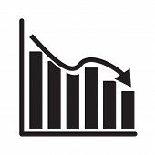 Graph Chart Icon On White Background. Flat Style. Declining Graph Icon For Your Web Site Design, Log poster