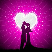 illustration of couple kissing in night view with heart shape moon backdrop