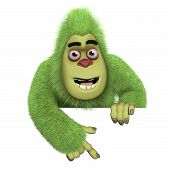 stock photo of bigfoot  - 3 d caertoon cute green bigfoot monster - JPG