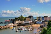View of Tenby Harbour, with Castle Hill.
