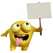 Yellow Monster Holding Placard