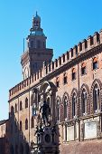 View On Fountain Of Neptune And Town Hall In Bologna
