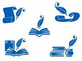 Libros, manuscritos y los iconos de plumas