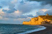 beautiful etretat beach in seine maritime normandie france