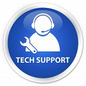 Tech Support Icon Blue Button