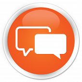 image of tribute  - Testimonials icon on glossy orange round button - JPG