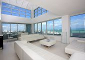 stock photo of penthouse  - View from luxury penthouse condo on South Beach - JPG