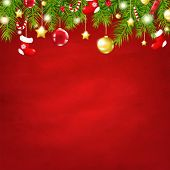Christmas Red Happy New Year Composition With Gradient Mesh, Vector Illustration
