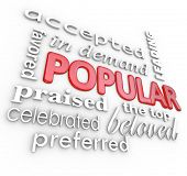 The word Popular surrounded by similar words and phrases such as preferred, praised, celebrated, favored, in demand, leading, top and more