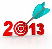 The year 2013 with an arrow in a bullseye target inside the number to symbolize targeted goals for t
