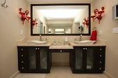 stock photo of bathroom sink  - Beautifully designed bathroom in a luxury condo - JPG