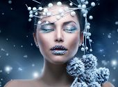Winter Beauty Woman. Christmas Girl Makeup.Make-up. Snow Queen
