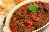Hungarian goulash beef stew served with crusty bread.
