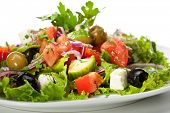 Greek Salad - Feta Cheese, Tomatoes, Salad Leaves,  Olive and Vegetables
