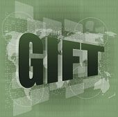 Gift Word On Digital Screen - Holiday Concept