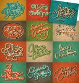 Christmas vintage cards set (vector)