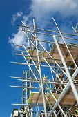 scaffolding construction with  blue sky