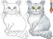 Vector Coloring Book Of Tiffany Cat