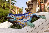 Sculpture Of A Dragon In Park Guell In Barcelona