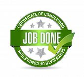stock photo of job well done  - job done seal illustration design over a white background - JPG