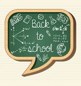 Back To School Education Icons Social Bubble Chalkboard Elements.