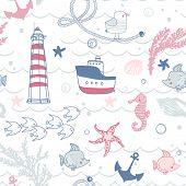 seamless marine pattern