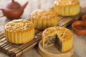 Chinese mid autumn festival foods. Traditional mooncakes on table setting.  The Chinese words on the