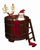 Hot Tub Santa - isolated