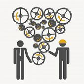 Illustration of silhouettes with gears