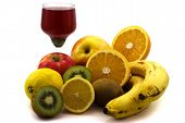 Fruits And Glass With Juice