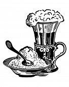 Ice Cream Sundae And Malt - Retro Clip Art Illustration