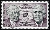 Postage Stamp France 1988 Adenauer And De Gaulle, Presidents