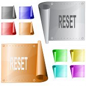 Reset. Metal surface. Raster illustration. Vector version is in my portfolio.