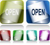 Open. Internet buttons. Raster illustration.