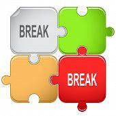 Break. Raster puzzle. Vector version is in portfolio.