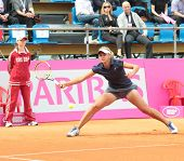 KHARKOV, UKRAINE - APRIL 21: Lesia Tsurenko, Ukraine in the match with Christina McHale during Fed C