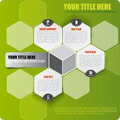Abstract vector green infographic background with icons and place for text