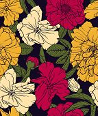 Elegant floral seamless pattern with hand drawn flowers