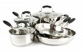 image of dutch oven  - Stainless steel pots and pans isolated on white background - JPG