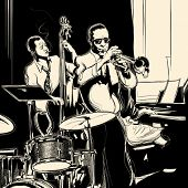 stock photo of double-bass  - Vector illustration of a Jazz band with double - JPG