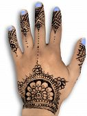 henna hena mehendi design - isolated blue nails and grey shadow